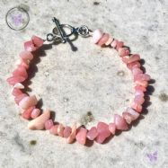Pink Opal Chip Bracelet With Silver Toggle Clasp